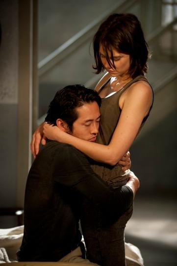 Glenn (Steven Yeun) and Maggie Greene (Lauren Cohan) - The Walking Dead - Season 4, Episode 1 - Photo Credit: Gene Page/AMC